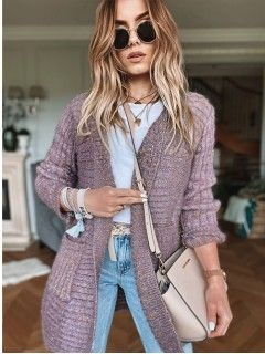 Sweter Kardigan Multikolor Wrzosowy