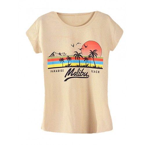 Koszulka Bluzka T-shirt Malibu Piaskowa