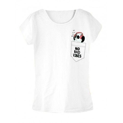 Koszulka Bluzka T-shirt No Bad Vibes Biała
