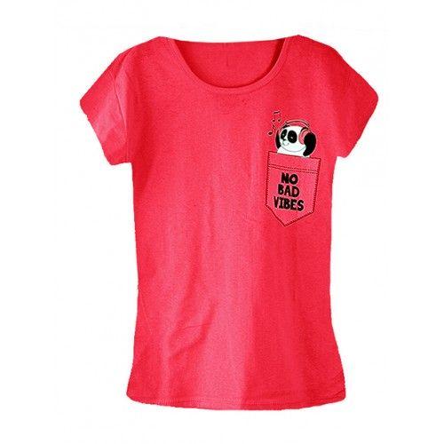 Koszulka Bluzka T-shirt No Bad Vibes Czerwona