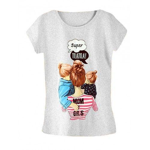 Koszulka Bluzka T-shirt Super Mama Szara