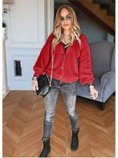 Sweter Rozpinany Czerwony