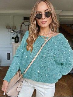 Sweter Perły Zgaszony Niebieski