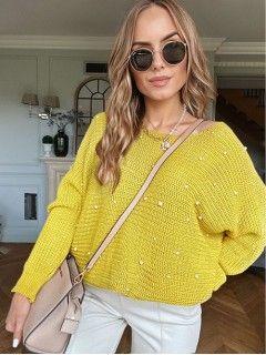 Sweter Perły Żółty